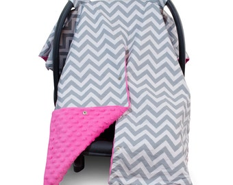 Carseat Canopy | Nursing Cover | Car Seat Canopy w/ Peekaboo Opening™- Chevron Pattern w/ Hot Pink Dot Minky for Girls | Breastfeeding Cover