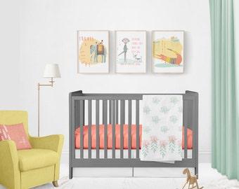 Night Bloom White Baby Quilt, Cotton, Modern, Handmade, Mint, Peach, White, Baby Quilt