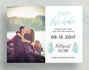 simple modern save the dates // blue watercolor foliage leaves // brush hand lettering // calligraphy // custom printable save the dates