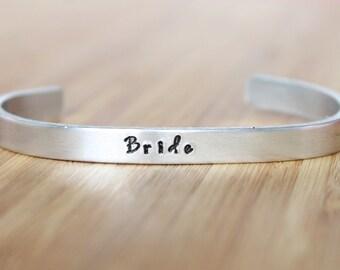 hand stamped cuff bracelet | bride