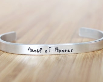 hand stamped cuff bracelet | maid of honour