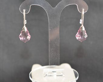 Earrings silver 925 drops baroque pink Swarovski crystal