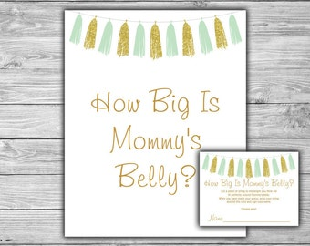Tassels - Mint - Gold - Baby Shower - How Big Is Mommy's Belly - Game - Cards - Sign - PRINTABLE - INSTANT DOWNLOAD - 098