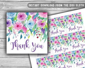 Floral - Baby Shower - Thank You Tags - Baby Shower Tags - Printable - Instant Download - Favor Tags - Purple - Pink - Blue - 051