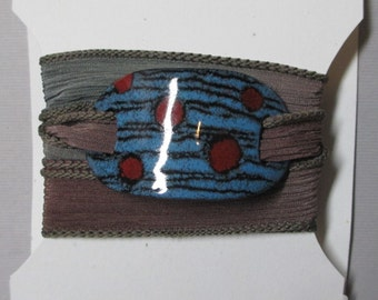 Silk Wrap Yoga Bracelet with Blue and Red Enamel Slide on a Silk Ribbon