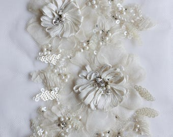 Hand-made trim with silk organza flowers, ribbons and pearls