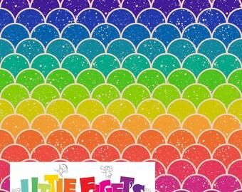 Rainbow Scales  Knit Fabric UK Custom Print