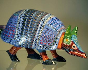 Blue Armadillo Alebrije Handpainting Paper Mache Sculpture Homedecor Folkart