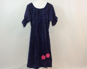 Birthday Dress, Navy Dress, Navy Flower Girl, Dress, Girls Dress, Girls Size 10, Girls Size Large, Pink Flowers, Crocheted Flowers,