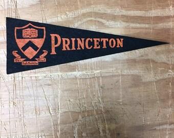 1950's Vintage Princeton Tigers College University Mini Pennant Flag Banner