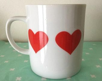 vintage red heart mug made in japan