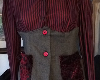 """Red, Black, and Gray Top with Stripes and Faux Corset- """"Elena"""""""