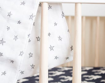 Stars baby swaddle, stars baby blanket, cotton gauze, modern swaddle, nursing cover, carseat cover, gold & white baby blanket, newborn baby