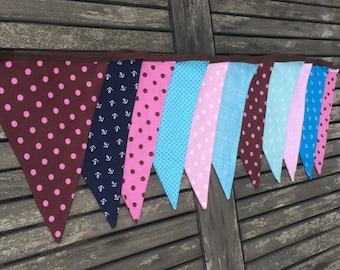 fabric bunting mixed colours, banner mixed colours, flags