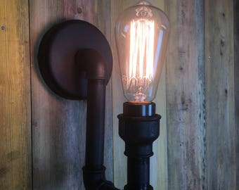 Staithes : SteamPunk industrial wall light from pipework components for E27 Edison Bulbs.
