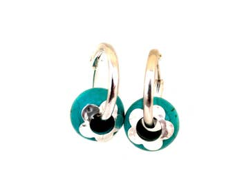 Sterling Silver Hoop Earrings,Silver Turquoise Earrings,Turquoise Dangle &Drop Earrings,Silver Flowers,Large silver hoop earrings