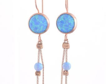 Opal Drop Earrings | Opal Dangle Earrings | Gold Drop Earrings | Blue Opal Earrings | Drop Earrings | Rose Gold Drop Earrings | Opal Jewelry