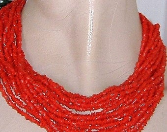 1950S RED GLASS necklace MULTI Strand glass bead chips