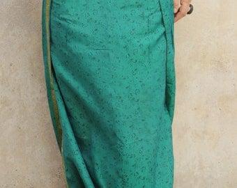 afghan silk skirt green