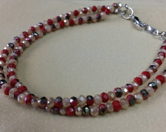 Small double-stranded crystal beaded bracelet