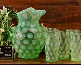 Fenton Glass Pitcher, 1929 Late Coinspot Opalescent Green Ice Tea Pitcher and Tumblers