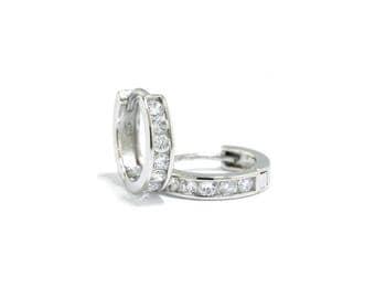 925 Sterling Silver - Hinged Hoop Earrings (S260)