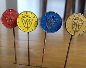Set of 4 TANIS Swiss watches pin badge