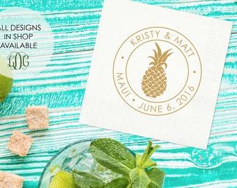 tropical pineapple napkins set of 100 custom wedding napkins beach wedding bridal
