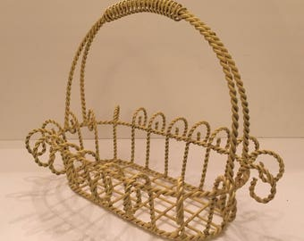 Vintage Yellow Metal Basket Wire Basket Oval Basket Large Wire Basket French Country Basket