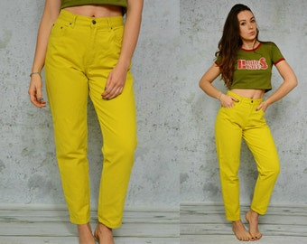 Mustard High waisted trousers Mom jeans Denim yellow pants Straight fit vintage 80s hipster M Medium size 29 waist