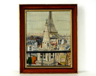 Paris Citscape with Eiffel Tower - Vintage Original Oil Painting - Signed and Dated - Original Frame - Eiffel Tower Painting
