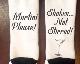 If you can read this socks | Martini Please! Shaken... Not Stirred Socks| If you can read this socks | funny socks gift