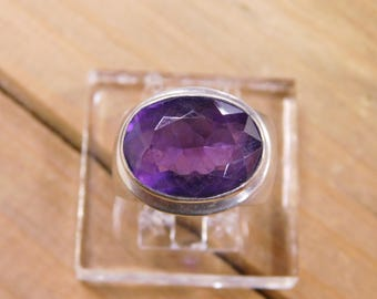 Sterling Silver Ring with Amethyst Stone Size 6.25