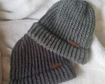Loom Knit Chunky Ribbed Ski Winter Hat Beanie