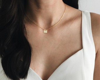 Square charm necklace, Gold plated square charm necklace, Gold minimal necklace, Square charm necklace (CH28)