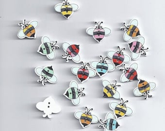 10 Pcs 19*17 mm Wood Sewing Button Scrapbooking Cartoon Bees mixed Crafts (213)