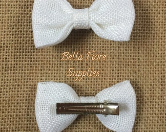 White Burlap Bow with Clip- 2.75 inch- Burlap Hair Bow- Wholesale Hair Clips