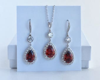 Red Bridal Jewelry Ruby Red Crystal Jewelry Set Red Cubic Zirconia Bridal Set Red Crystal Wedding Jewelry Set Red Bridesmaid Jewelry Set
