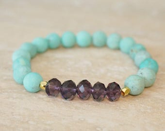 Ready to ship, sale, turquoise, purple crystal jewelry