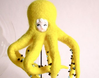 Yellow octopus, felted wool