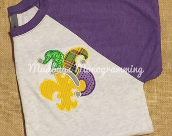 Fleur de Lis Mardi Gras Shirt - Adult Shirt - Louisiana Shirt - Mardi Gras - Baseball Shirt