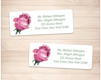 "Printable Pink Rose Address Labels - Pretty Pink Floral Personalized 2 5/8"" x 1"" Address Labels - DIY Editable PDF - Instant Download"