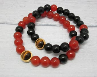 Beaded bracelet Bracelet black Best friend gift Red bracelet Friendship bracelet Beaded bracelet set Tiger eye jewelry Jewelry for family