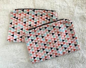 Makeup bag, triangle print