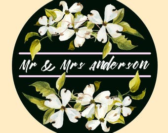 Dramatic white cherry blossom Wedding stickers personalised for your celebration