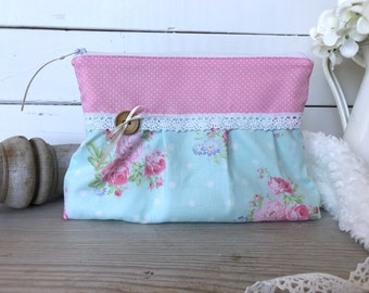 Shabby chic pouch, Pleated pouch, Floral zipper pouch, Pencil case, Pink makeup bag, Cosmetic pouch, Gift for her, polka dots, Roses, Lace