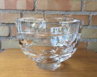 Ingeborg Lundin for Orrefors, two-faceted art glas bowl, Mid century Modernist design from Sweden