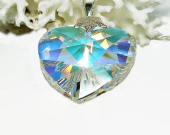 Crystal Prism Necklace   Swarovski Crystal Pendant   Heart Necklace   Wife Gift Ideas Anniversary   Necklace for Girlfriend   A0213