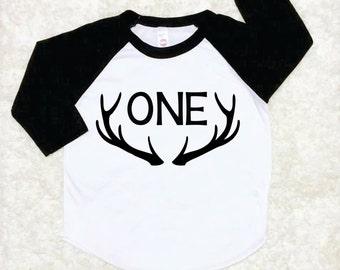 First Birthday Shirt, Antler Hunting Theme, Boy 1st Birthday BaseBall Shirt, Raglan Birthday Shirt, Birthday Boy Outfit, Black White Raglan
