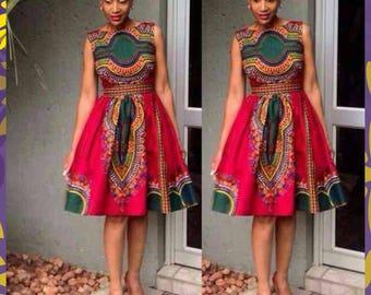 Red and green Dashiki Midi Dress, Sleeveless Dashiki Dress,  African Ankara Dress, African Clothing